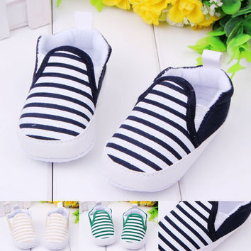 Baby Boy First Walkers Fashion Striped Canvas Baby Shoes