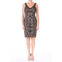 Sue Wong Womens Lace Sleeveless Cocktail Dress