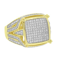 Sterling Silver Mens Ring Yellow Gold Finish Simulated Diamonds Classy