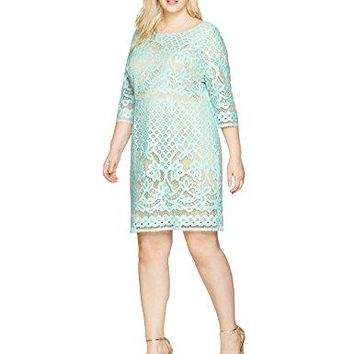 Women's Plus Size Long Sleeved Crochet Lace Fit and Flare Dress