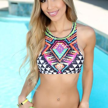 Sexy Black Lime Tribal Print Two Piece Swimsuit