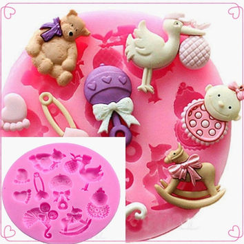 Hot sale Baby Shower Silicone Fondant Cake Mold Chocolate Baking Decor Mould = 5617231809