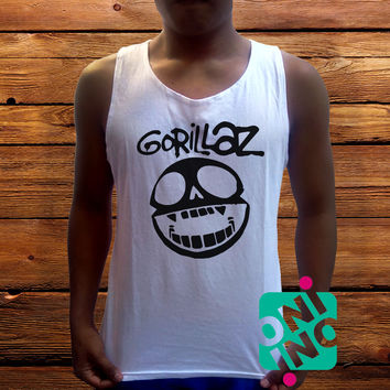 Gorillaz Logo Men's White Cotton Solid Tank Top