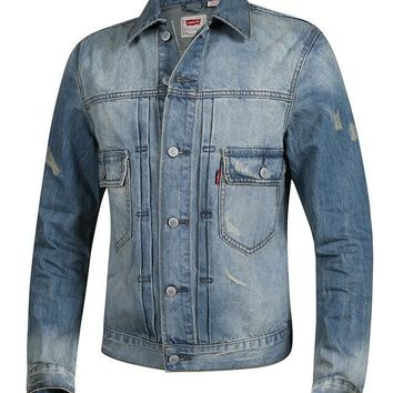 Levi's 2017 Casual Denim High Quality Cowboy Men's Jacket Locomotive Light-colored Men Jacket Women Clothes F015