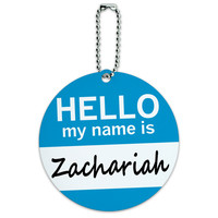 Zachariah Hello My Name Is Round ID Card Luggage Tag