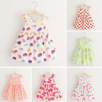 Girls dress summer 2017 new children Little Girl thin vest baby Floral Dress