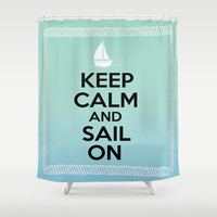 Sail On- Boat Shower Curtain by BeccaBlueyes