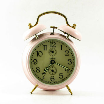 Vintage pink desk alarm clock with twin bells made in Germany