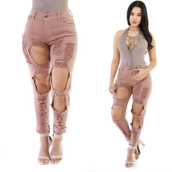 Ripped Distressed High-Waist Jeans