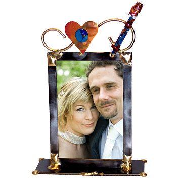 Full Heart Wedding Glass Keepsake Photo Frame By Gary Rosenthal, Frames In Black Size: 2 L X 6 W X 9 H