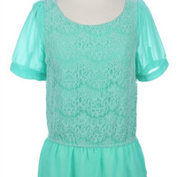 Mint Lace Ruffle Blouse Small