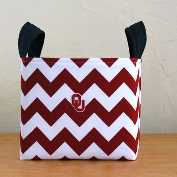 Medium Fabric Basket Storage Bin, University of Oklahoma Sooners Chevron  Red White
