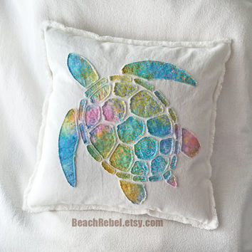 Sea turtle applique pillow cover in rainbow tie dye swirls batik and bleached white distressed denim boho pillow cover 18""