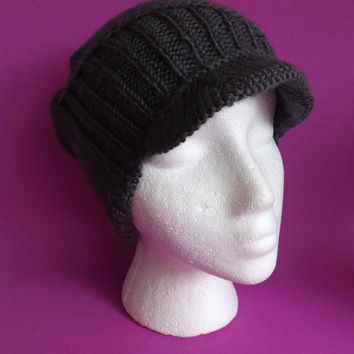Beanie Hat with Brim - Knitted Beanie Hat - Knitted Unisex Geometrics Beanie Hat - Knitted Newsboy Hat