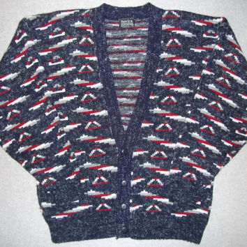 Vintage 80s 90s Aztec V Neck Button Up Sweater Hipster Cool Tacky Gaudy Ugly Christmas Sweater Party 1980s 1990s Made in USA L Large