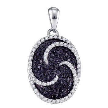 Black Diamond Ladies Fashion Pendant in 10k White Gold 0.75 ctw