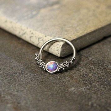 Purple Opal Fire Conch Hoop Earring,Septum Ring,Cartilage,Helix,Nipple Ring,Daith Captive Bead Earring,14G 16G Surgical Steel Sold as Single