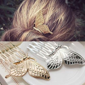 1PC Fashion Elegance Style Hairpin Women Girls Alloy Butterfly Hair Comb Headwear Summer Plate Made Gadgets NEW