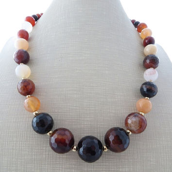 Agate necklace, peach agate necklace, chunky necklace, brown stone necklace, beaded necklace, gemstone jewelry, summer jewelry, gioielli