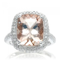 Cushion morganite engagement ring diamond pave halo band 12x10