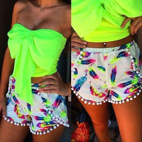 Women Summer BOHO  Feather Print Board Surf Mini Shorts Beachwear Baithing Pants Sexy shorts = 1928357636