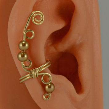 Gold Filled Ear Cuff Wrap Swarovski Gold Pearls