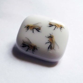 Bees Fused Glass Brooch by SimonAldersonGlass on Etsy