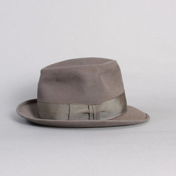 40s WHIPPET Royal Stetson FEDORA / Grey Fur Felt HAT, 6 7/8