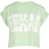 River Island Womens Light green Texas print cropped t-shirt