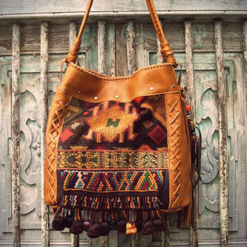 Vintage Guatemalan Huipil & Leather Bag