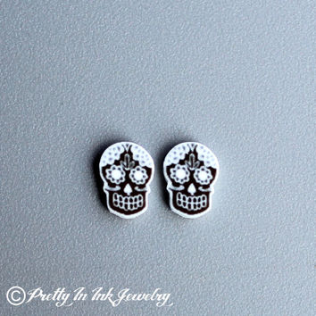 Day of the Dead Mini Black and White Sugar Skull Earrings