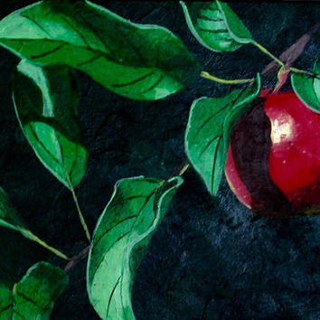 Red Apple on Tree Fine Art Painting, Still Life, Red Painting, Red Fine Art