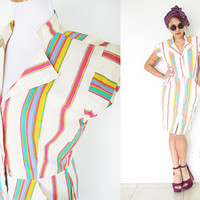 Vintage 80's shirt dress button down stripe colorful preppy pink green yellow beige cream oversized pocket pin up madmen