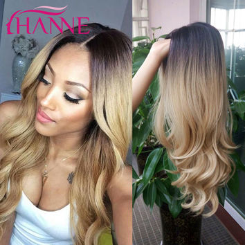 Cheap Black To Blonde Long Wavy Wigs Ombre Body Wave Heat Resistant Synthetic Hair Wig