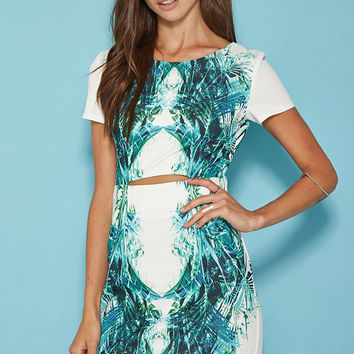 Tiger Mist Tropical Palm Cutout Dress