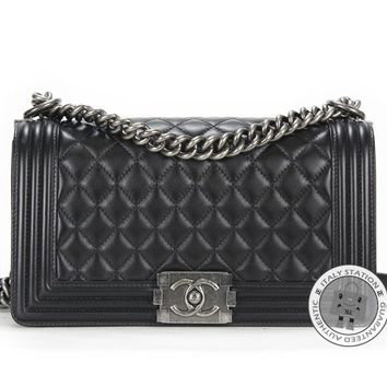 Chanel New A67086 Y04638 Medium Boy Black Calfskin Shoulder Bag Sbhw MPRS