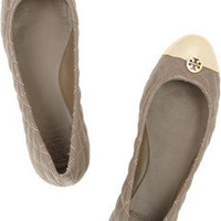 Tory Burch|Kaitlin quilted-leather and metal ballet flats|NET-A-PORTER.COM