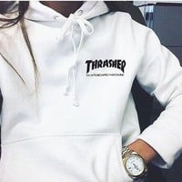 """Thrasher""Quality hooded sweater flame slide hip sweater Letters on the side White"