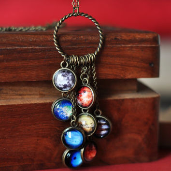 Solar System Necklace, Space Pendant Necklace, Planets Jewelry Statement Necklace