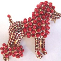 Dolce & Gabbana Red Crystal and Faux Pearl Poodle Lapel Pin High Fashion Runway Critter Bling