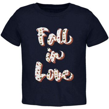 ESBGQ9 Autumn Fall in Love Leaves Pattern Toddler T Shirt