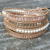 Beaded Leather 4 Wrap Bracelet with Peach Pink Champagne Czech Glass Beads on Natural Tan Leather