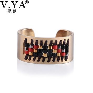 V.YA Friendship Seed Beads Jewelry Women's Bohemia Ring Boho Handmade Weaving Pattern Stainless Steel Ring