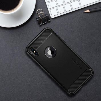 VONW3Q Spigen Rugged Armor iPhone X Case with Resilient Shock Absorption and Carbon Fiber Design for Apple iPhone X (2017) - Matte Black