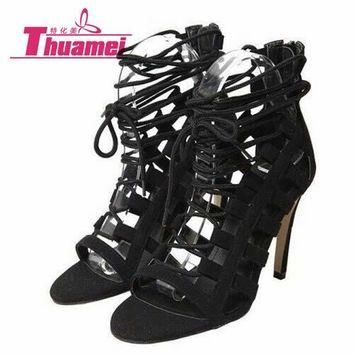 size 35-43 new women's fashion lace up high heels open toe sexy women sandals spring s