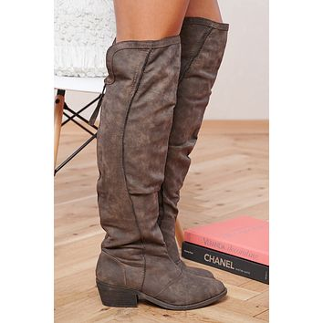 Ainsley Tall Faux Leather Zip Up Boots (Taupe)