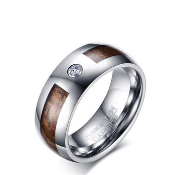 8MM Tungsten steel Wood grain ring for men tungsten carbide inlay AAA cubic zirconia ring fashion jewelry boy friend gift
