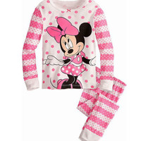 2016 Minnie Cartoon Mouse Baby Toddlers Kids Girls Polka Dots Stripe Nightwear Pajamas Set Sleepwear Homewear Clothing Suit 1-8Y