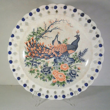 Pierced Lattice Peacock Plate Wall Hanging Collectable from Japan
