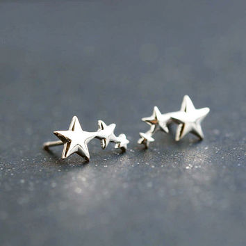 Silver Three Star Stud Earrings, Sterling Silver Star Earrings,star studs,star jewelry,silver jewelry,gift for her,simple earrings